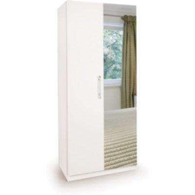 Ashburton Two Door Wardrobe with Mirror - White / White