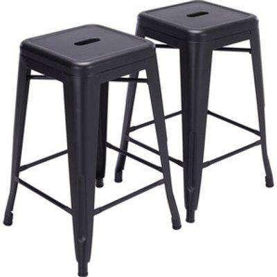 Barstool with Metal Peg Legs  - Black