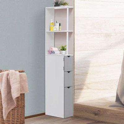 Bathroom Cabinet Tall Shelf - White, Grey