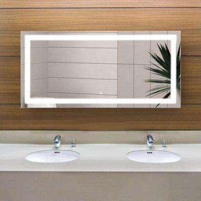 Bathroom Illuminated Hung LED Wide Mirror  - Sliver