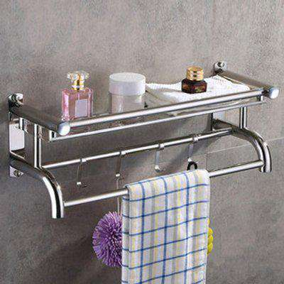 Bathroom Wall Shelf with Towel Racks - Silver / 15.5cm