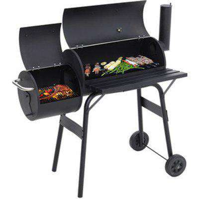 BBQ Charcoal Grill with Offset Smoker - Black