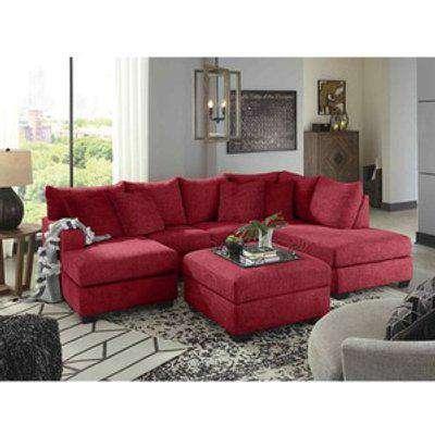 Beboz Full Back Large Corner U Shape Sofa - Red