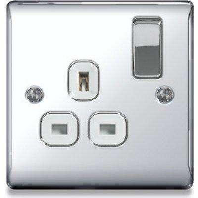 BG 1G 13A Single Switched Socket - Polished Chrome