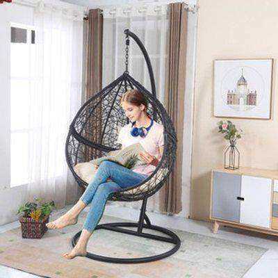 BIRCHTREE Egg Swing Hanging Chair With Cushion Rattan Wicker - Black