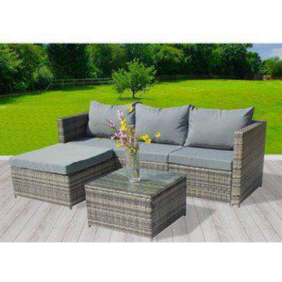BIRCHTREE 5 PCS Rattan Garden Furniture Set Corner Sofa Glass Table - Grey