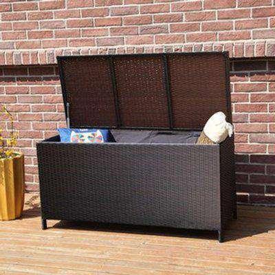 BIRCHTREE Rattan Woven Garden Furniture Storage Box - Brown