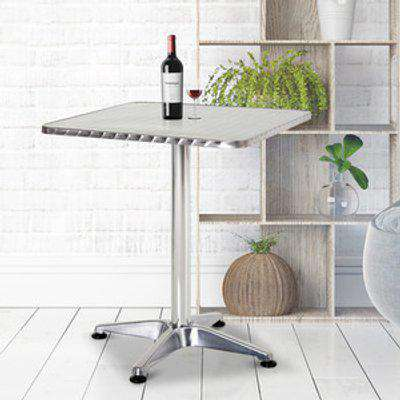 Bistro Bar Coffee Square Table - Stainless Steel