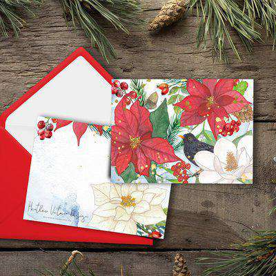 Botanical Christmas Card - Set of 4 - Red and Green