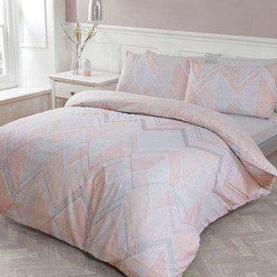 Brodie Geo Metallic Duvet Cover and Pillowcase Set - Blush / Double