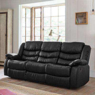 Brooklyn 3 Seat Recliner Sofa - Black