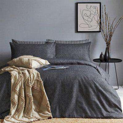 Brushed Cotton Herringbone Duvet Cover Set - Charcoal / Superking