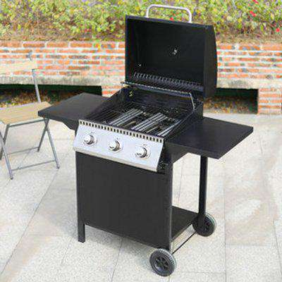 3 Burner Gas BBQ Grill - Black