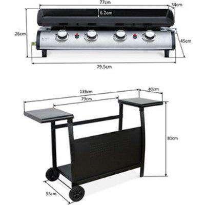 4 Burner Gas BBQ Plancha with Detachable Trolley