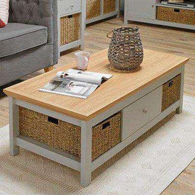 Burton Coffee Table With 1 Drawer - Grey/Oak