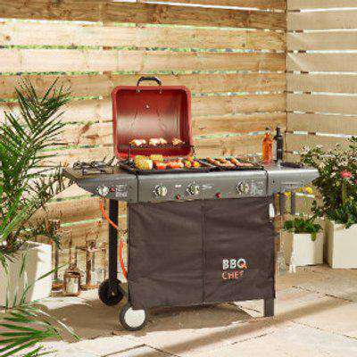 Canberra 2 Burner Grill Gas BBQ With 2 Side Burners