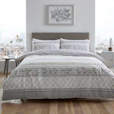 Casa Grey Duvet Cover and Pillowcase Set - Grey / Double