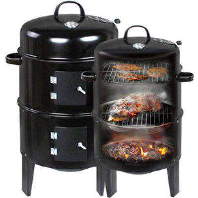 3-in-1 Charcoal BBQ Grill Smoker - Black