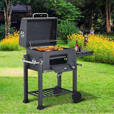 Charcoal Grill7 Smoker BBQ Trolley - Dark Grey