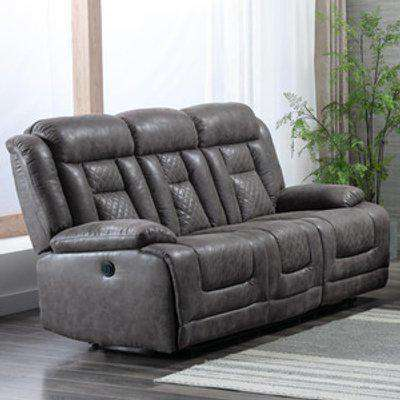 Chester 3 seater Recliner Sofa Electric Power - Grey