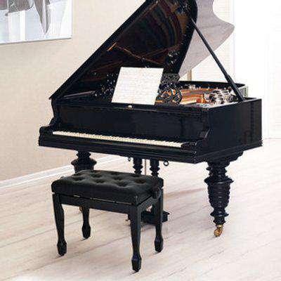 Classic Piano Bench Padded Seat Stool - Black