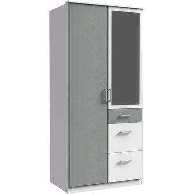 Click White And Grey 4 Door Wardrobe - Grey