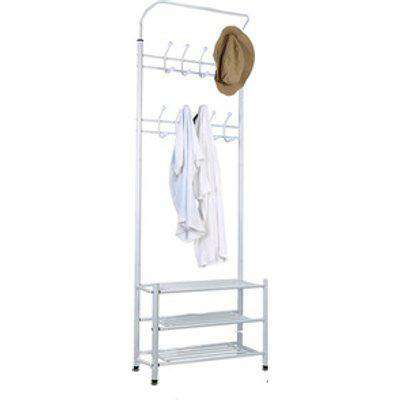 Coat Rack Stand with Shoe Bench - White