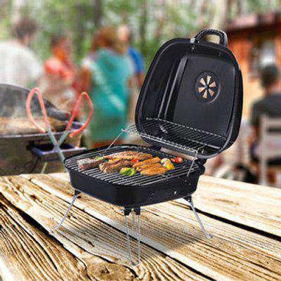 Compact Lightweight Charcoal BBQ - Black