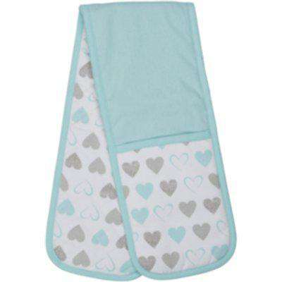 Cosy Heart Double Oven Glove - Blue