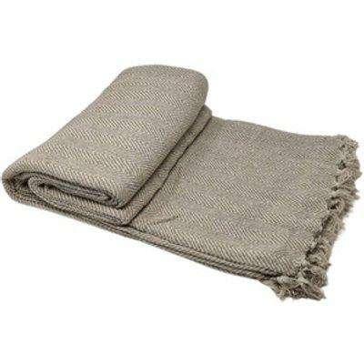Cotton Herringbone Chair Sofa Bed Throws - Beige
