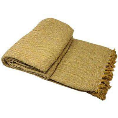 Cotton Herringbone Chair Sofa Bed Throws - Mustard