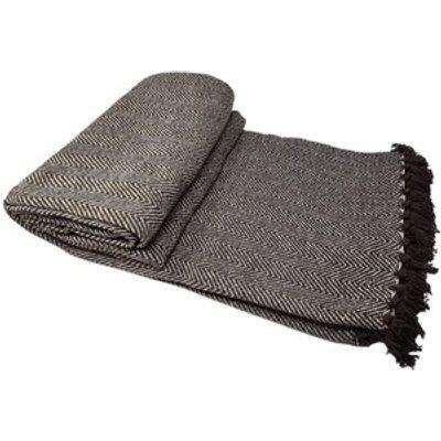 Cotton Herringbone Chair Sofa Bed Throws - Chocolate