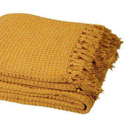 Cotton Honeycomb Chair Sofa Bed Throws - Mustard