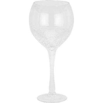 Crackled Wine Glass Hurricane - Clear