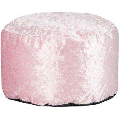 Crushed Velvet Round Footstool - Blush