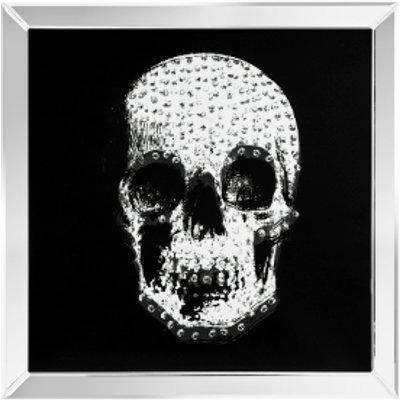 Crystal Effect Skull Mirrored Wall Art - Silver