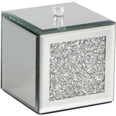 Crystal Jewel Top Trinket Box - Silver