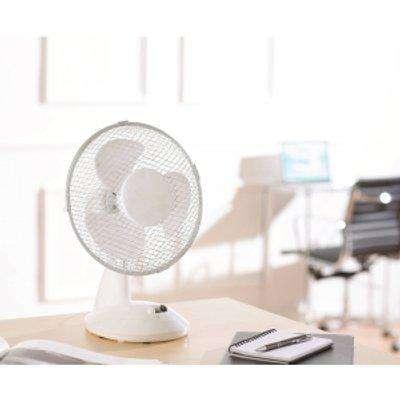 """9"""" Desk Fan Two Speed Oscillation - White"""