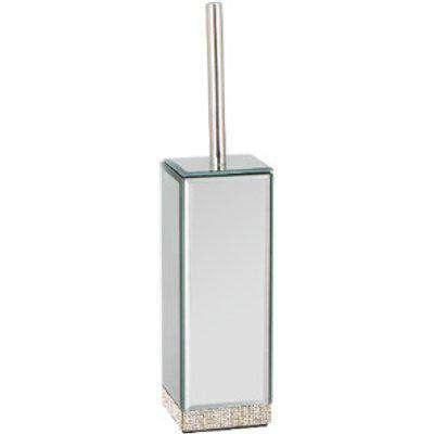 Diamante Mirror Toilet Brush Holder