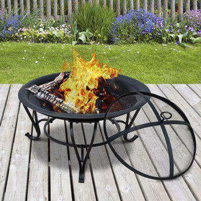 56 cm Diameter Round Outdoor Metal Fire Pit Wood Burning Heater - Black