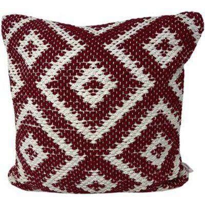 Diamond Handloom Geo Cushion Cover - Wine
