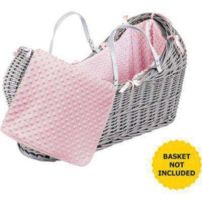 Pink Dimple Pod Moses Basket Bedding Set