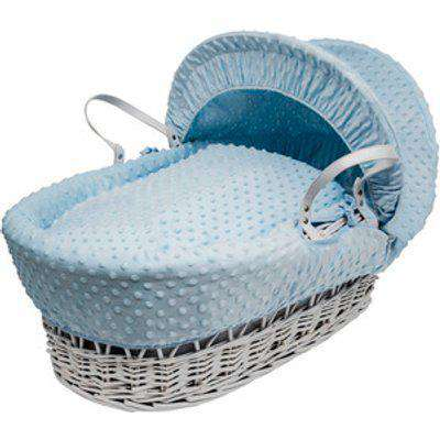Blue Dimple White Wicker Moses Basket - Blue