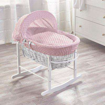 Pink Dimple White Wicker Moses Basket with White Rocking Stand