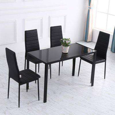 Dining Table with Tempered Glass - Blakc