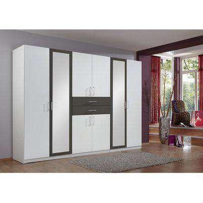 Diver White 5 Door Wardrobe - White