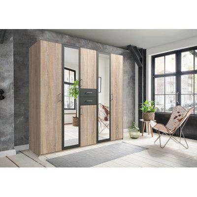 Diver Oak And Graphite 5 Door Wardrobe - Oak and Graphite
