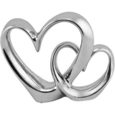 Double Chrome Heart Sculpture - Silver