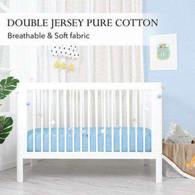 Double Jersey Baby Fitted Cot Crib Bed Sheets - Sky Blue / Small Single