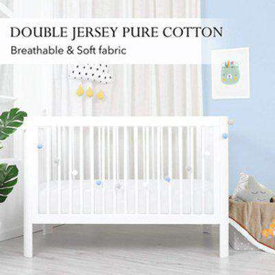 Double Jersey Baby Fitted Cot Crib Bed Sheets - White  / Junior
